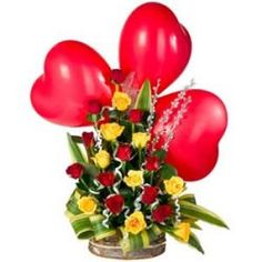 Exclusive combo of 20 fresh red and yellow roses basket arrangement - Send this exclusive gift to your loved ones through us.