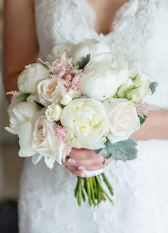 Pastel cream + pink summer wedding bouquet idea - peonies, roses, and astilbe {shoreshotz photography}