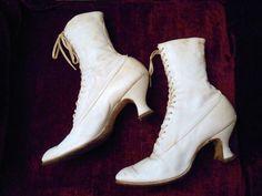 Wearable Victorian Edwardian Downton Titanic Era French Heel Leather Lace Boots   eBay