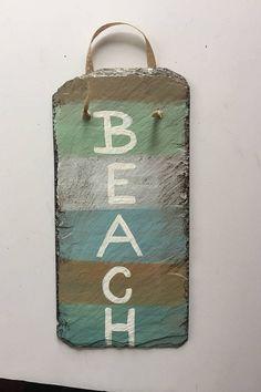 Beach Signs, Beach Lovers sign, Coastal painted slate sign, Beach house decor, shabby chic Coastal decor, Beach wall hanging, BEACH