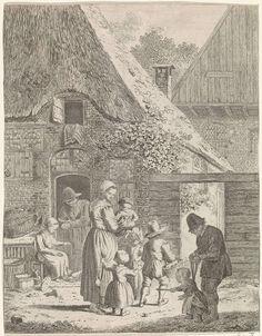 Johannes Christiaan Janson | Boeren en kinderen bij boerderij, Johannes Christiaan Janson, 1778 - 1823 | Boerderij met een man, leunend op een onderdeur. Een vrouw zit voor de deur en geeft kippen te eten. Op het pad voor de boerderij een vrouw met vier kinderen, van wie zij één in haar armen houdt. Rechts op de voorgrond een man met een kind aan de leiband.