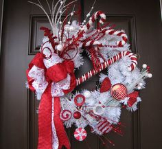 Flocked Red and White Christmas Wreath with Chevron Bow, Red and White Glitter Candy Christmas Wreath, Holiday Wreath, Festive Party Wreath