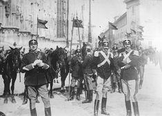 Italian cavalry in dress uniform in Milan