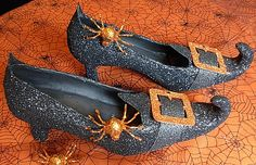 DIY Glittered Witch Shoe --how to make a   witch shoe for any purpose