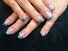 Aqua Glitter Tips