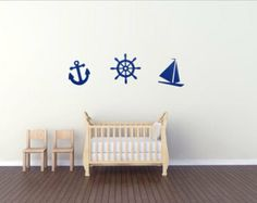 Nautical Decal - Set of 3 Decals - Sailboat, Wheel and Anchor, Nautical Decor