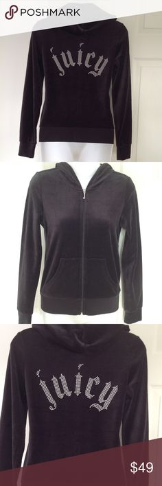"Juicy Couture Hoodie Black Stud Robertson Jacket M Juicy Couture  -NWT -Pitch Black -Track Velour Juicy Studs Robertson Jacket -Size Medium -Signature Juicy J Zipper Pull -Two pockets in front -Studded Juicy on back  -Hooded sweatshirt jacket -81% cotton, 19% Polyester -Laying flat measures approximately 19"" across chest, 24"" long, 20"" from underarm to end of sleeve Juicy Couture Tops Sweatshirts & Hoodies"