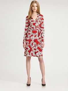 Diane von Furstenberg - New Jeanne Two Dress - Saks.com  I want this!  I love red wrap dresses!