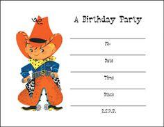 Retro Cowboy party invite