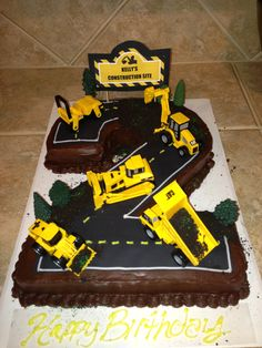 Kelly's second #2 construction birthday cake that I made him:)