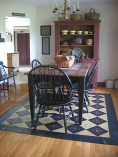 Like the painted floor cloth/ tapis peint sur le plancher Primitive Dining Rooms, Country Dining Rooms, Primitive Furniture, Country Furniture, Painted Floor Cloths, Painted Floors, Painted Rug, Prim Decor, Country Decor