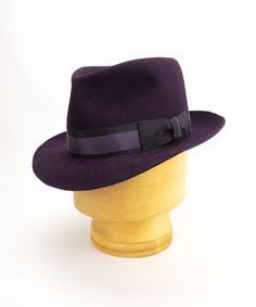 Custom men's fedora in aubergine fur felt with black and purple band and bow. #customfedora