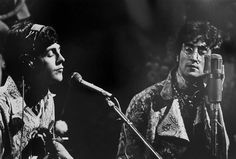 Paul and John at rehearsals. The broadcast was the world's first live, international, satellite television production photo by David Magnus
