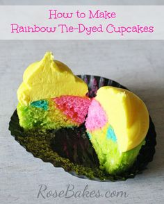 How to Make Rainbow Tie-Dyed Cupcakes - Step by step photo tutorial for how to make these including links to the recipe!
