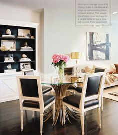 an idea for how to integrate dining room and living room flow. love the dining room set.