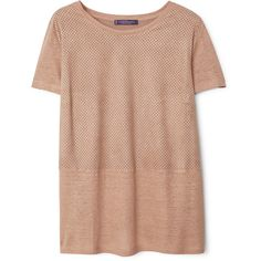 Violeta BY MANGO Violeta BY MANGO Mixed Laser-Cut T-Shirt ($60) ❤ liked on Polyvore featuring tops, t-shirts, laser cut top, beige t shirt, short sleeve tee, mango t shirt and round top