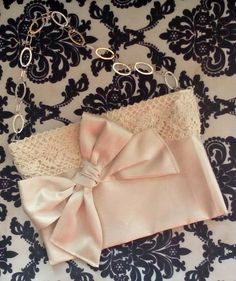 Formal faux silk purse with bow