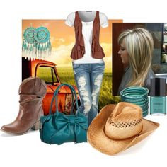"""Features the Teal Bangle Stack -- """"Country Girl"""" by samantha-wainscott on Polyvore #fashion #country #jewelry #bangles"""