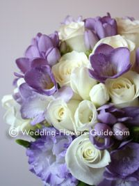 Freesia my wedding bouquet had purple and white freesia, white toses, pale lavendar hydrengia... smelled divine and was so beautiful
