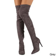 Have a try with these thigh high boots. Featuring super sexy peep closed toe, long side zipper for easy wear, stretchy faux suede upper offering comfort. The chic yet alluring stiletto heel design wil
