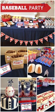 boy birthday parties All of the ballpark foods are at this Vintage Baseball boy birthday party! See more party ideas at ! Softball Party, Baseball Birthday Party, 1st Boy Birthday, Boy Birthday Parties, Birthday Ideas, Vintage Baseball Party, Baseball Theme Food, Boy Birthday Themes, Baseball Party Decorations