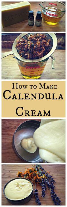 How to Make Calendula Cream~ A healing lotion or body butter made with calendula and lavender.  www.growforagecookferment.com: