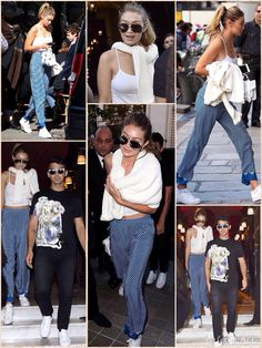 Loving lunch date: Gigi Hadid and beau Joe Jonas left their Hotel Costes and headed out for a lunch date in Paris on Sunday The young couple coordinated their looks in movie star shades and matching white Adidas sneakers.  She looked flawless with natural makeup and swept her golden locks back which highlighted her exquisite face. The statuesque model added some color to her wardrobe in loose-fitting silky blue pants with small white polka dots.