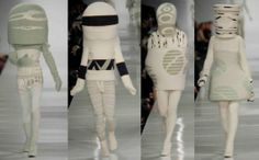 """MFA Fashion & Knitwear Designer Yu-Shin """"Mue"""" Kim created a collection influenced by the sculptures of Tony Cragg, the knitwear craft art of Mark Newport, wardrobes of comic-book heroes, and the performance costumes of Leigh Bowery.  Mue is from Incheon, South Korea."""