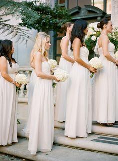 Wedding Ideas: pale-cream-bridesmaid-dresses