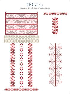 """Semne Cusute: OLTENIA - model de ie din Dolj Why is unusual chest stitches. is usually tissue; most likely taken from a kilim. In central Anatolia, this reason is often used is the female counterpart to """"ram horns""""; is an ancient reason. Folk Embroidery, Learn Embroidery, Embroidery Patterns, Knitting Patterns, Cross Stitch Borders, Cross Stitch Flowers, Cross Stitch Patterns, Palestinian Embroidery, Embroidery Techniques"""