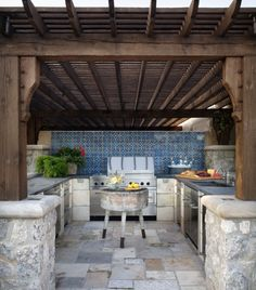 shaded outdoor kitchen