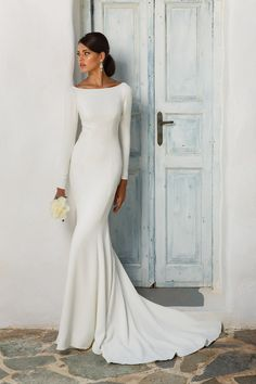 Unique White Satin Wedding Dress,Long Sleeves Bridal Dress,Open Back Wedding Gown