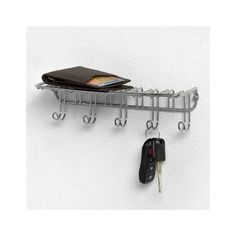 Organize your keys and accessories in style with Spectrum's Key Rack with Shelf. Sleek and simple, the five-hook design offers extra storage where you need i. Home Depot, Key Shelf, Wall Key Holder, Key Holders, Key Rack, Key Hooks, Wall Racks, Extra Storage, Storage Shelves