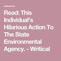 Read: This Individual's Hilarious Action To The State Environmental Agency. - Writical