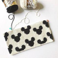 Mickey Zipper Pouch – STUFF STEPH MAKES Crochet Bedspread Pattern, Tapestry Crochet Patterns, Crochet Purse Patterns, Crochet Clutch, Crochet Purses, Crochet Stitches, Crochet Hats, Tapestry Bag, Handmade Leather Wallet