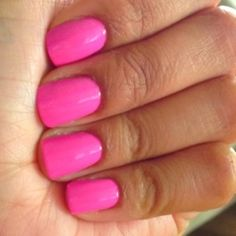 "bright pink nails~ looks alot like my lechat gel nail polish in ""go girl""?"