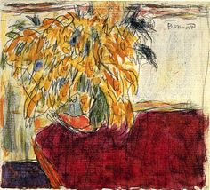 Vase of Flowers on a Red Cloth Pierre Bonnard - circa 1940