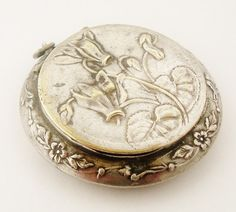 Art nouveau French powder compact locket or pill box for chatelaine cyclamen design