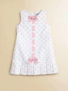 Florence Eiseman - Toddler's & Little Girl's Pique Pleated Polka Dot Dress buttonholes/ribbon Dresses Kids Girl, Little Girl Dresses, Cute Dresses, Baby Dresses, Toddler Dress, Toddler Outfits, Kids Outfits, Little Girl Fashion, Kids Fashion