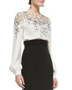 Oscar de la Renta Lace-Embellished Silk Top