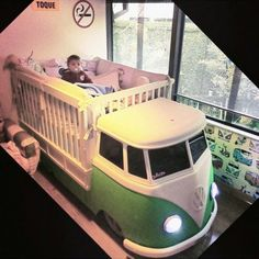 collest crib I ever did I see VW Bus Baby Crib ☮ pinned by http://www.waterfront-properties.com/