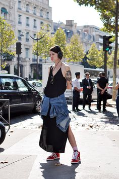 Marianne spotted in Paris with the Spaghetti dress on :-)
