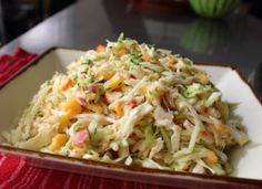 Spicy Peach Coleslaw | Have you ever put peaches in a slaw? Oh, you really should. Juicy, sweet, and delicious peaches make a fantastic coleslaw.