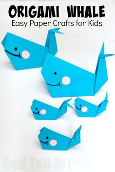 Easy Origami Whale - Paper Crafts for Kids - Red Ted Art - Make crafting with kids easy & fun - Easy Origam Whale for Kids. Super cute, fun and easy whale – a great paper craft for beginner origami kids. How to make an origami whale kid's crafts Easy Paper Crafts, Paper Crafts For Kids, Diy Paper, Projects For Kids, Paper Crafting, Fun Crafts, Creative Crafts, Decor Crafts, Fish Paper Craft