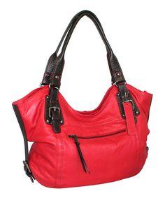 Red Carry Me Kate Leather Shoulder Bag