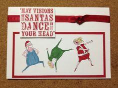Visions of Santa, this is such a fun set! Santa Stamp, Dancing Santa, Winter Christmas, Christmas 2019, Bird Cards, Stamping Up, Handmade Christmas, Stampin Up Cards, Crafts To Make
