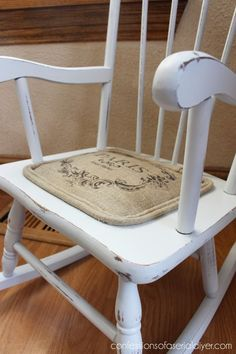 Little Shabby Chic Rocking Chair | Hometalk  Beachy mudroom. Paint white first then blue and distress