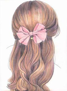 Drawing Hair of Girl with pink bow/ Disegno capelli di ragazza con fiocco rosa - Illust. by vaniinamagic on deviantART