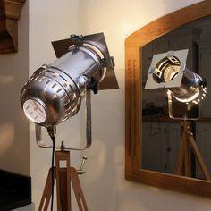 Vintage Style Spotlight Tripod Long Polished Steampunk Industrial Floor Lamp for sale
