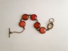 Nail Polish Bracelet  Orange to Red Ombre with by PolishedFindings